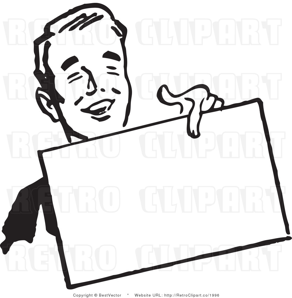 Man Holding Sign Clipart - Clipart Kid