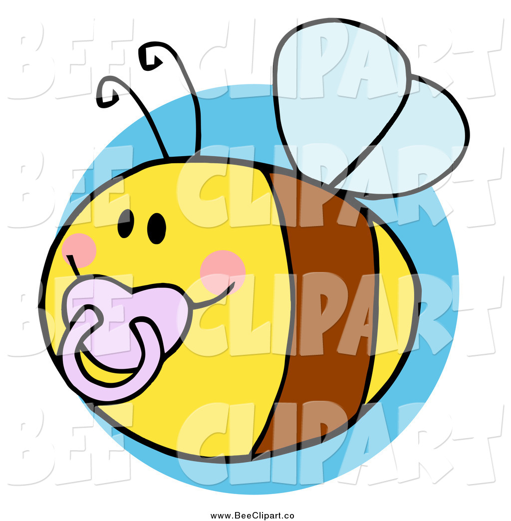 Chubby Baby Bee With A Pacifier Over A Blue Circle Chubby Baby Bee