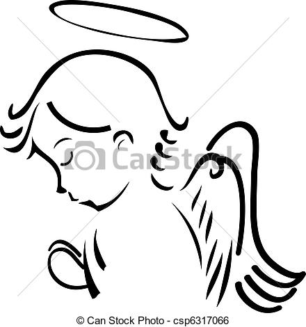 Clip Art Vector Of Angel Praying Csp6317066   Search Clipart