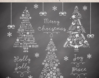 Clipart Christmas Tree Chalkboard Christmas Clipart Winter Clipart