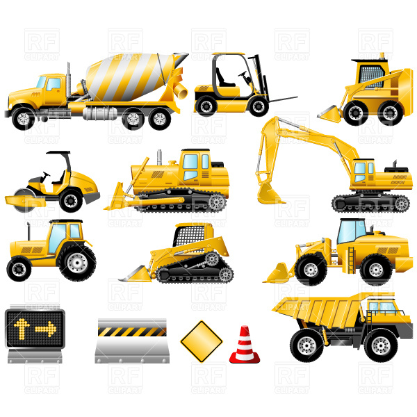 Construction Machinery Icons 4773 Transportation Download Royalty