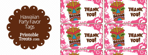 Free Pink Tiki Mask Party Favor Tags