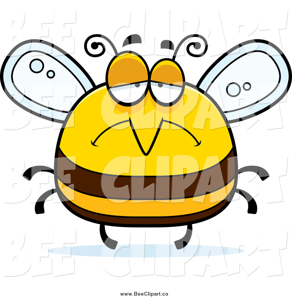 Larger Preview  Cartoon Vector Clip Art Of A Pudgy Depressed Sad Bee