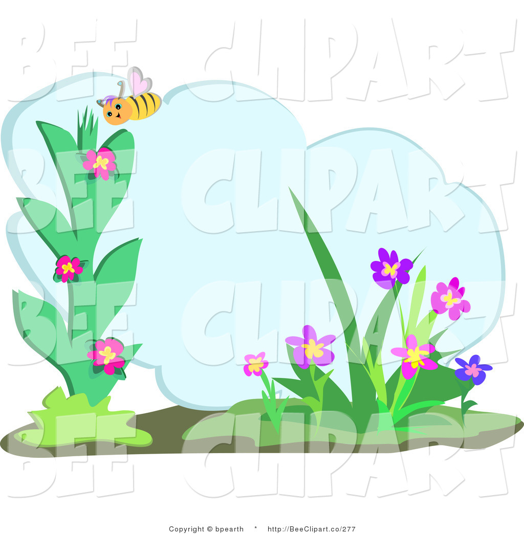 Larger Preview  Vector Clip Art Of A Yellow Honey Bee Admiring Flowers