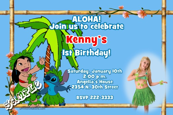 Luau Birthday Invitations  Luau Lilo And Stitch Birthday Invitations