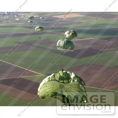 Picture Of Parachutes Of An Airborne Jump Exercise    9001 By Jvpd