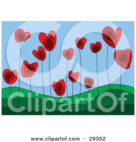 Red Heart Flowers Growing In A Green Hilly Landscape Symboli