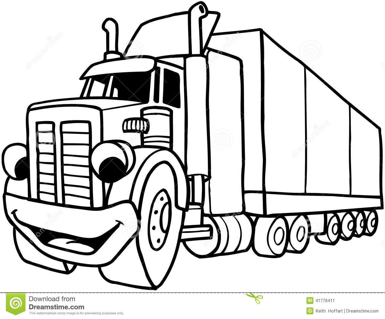 Semi Large Truck Cartoon Vector Clipart Created In Adobe Illustrator