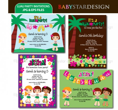 Set The Tone For The Party I Created Invitations Using The Luau Party