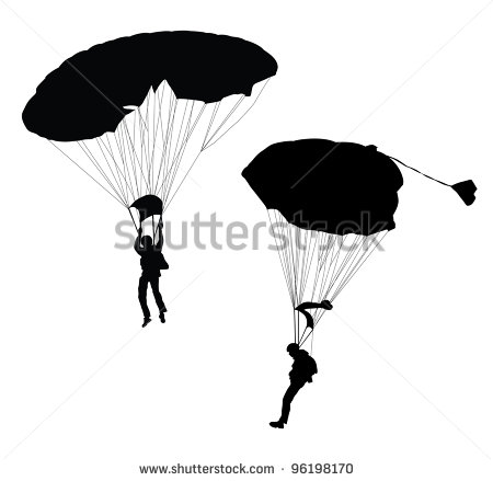 Silhouette Of Skydiver Before Landing  Vector   Stock Vector
