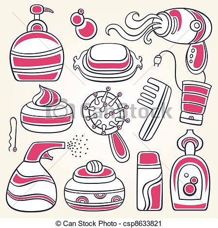 Vector Clip Art Of Accessories For Personal Hygiene   Vector Series Of