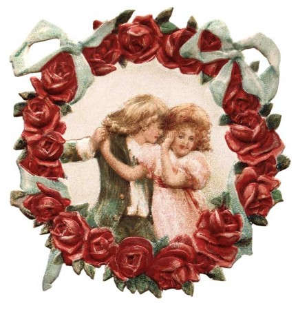 Vintage Victorian Flower Wreath Die Cut Valentine   Click For