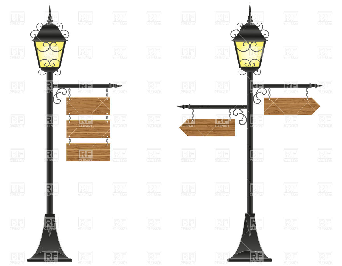 Wooden Boards Signs Hanging On Streetlight Vector