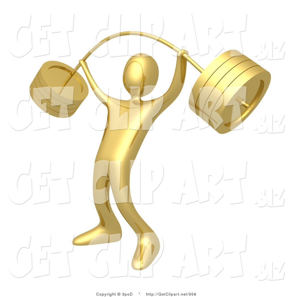 3d Clip Art Of A Strong Golden Man Holding Heavy And Bending Barbell