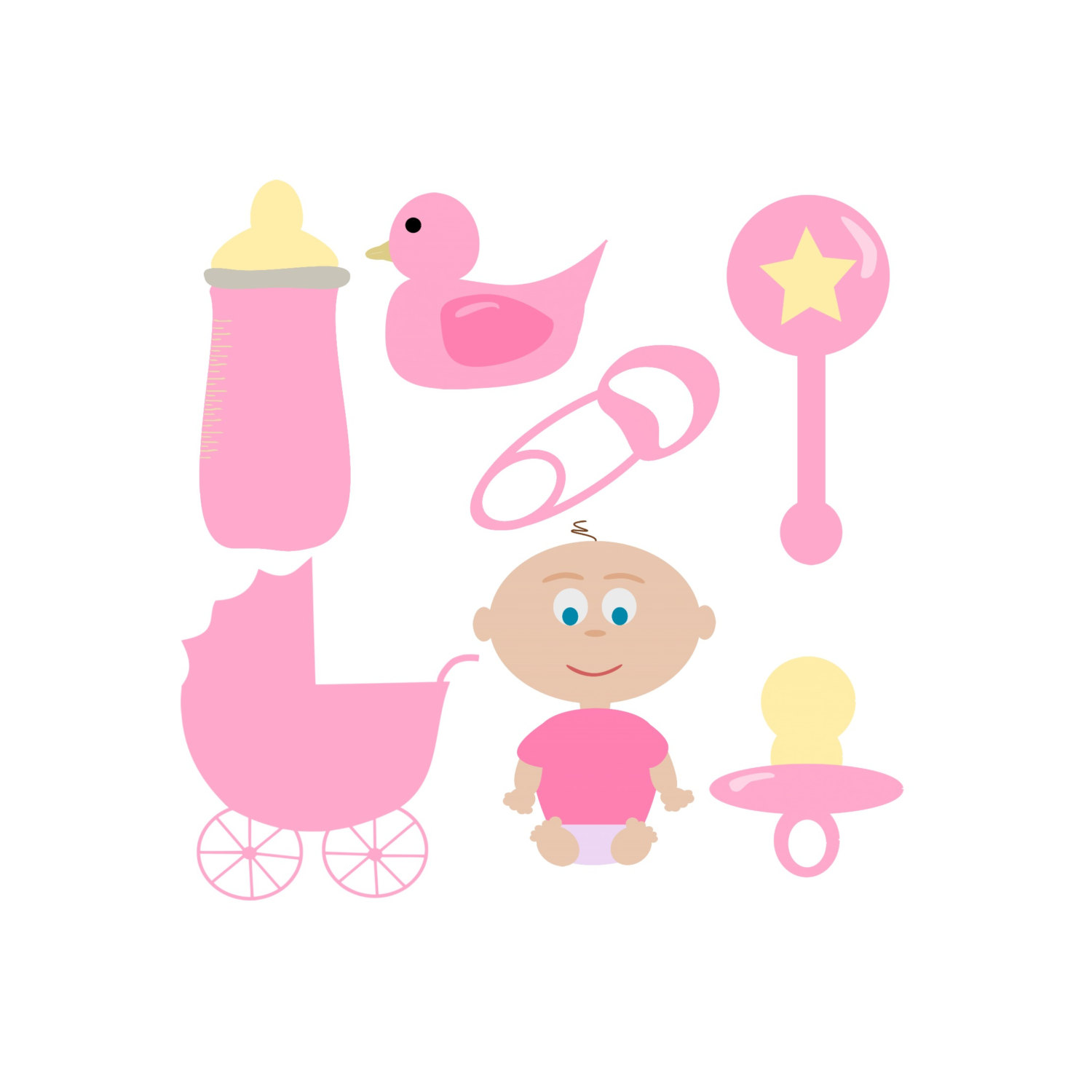 Digital Baby Girl Clip Art Baby Clipart Light Pink Baby Shower Hand