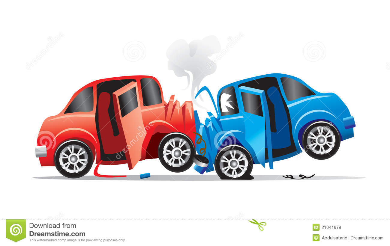 Drawing Of Two Vehicles In A Head On Collision Or Accident