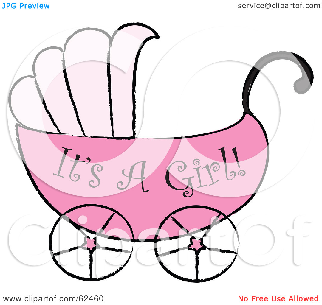 Free  Rf  Clipart Illustration Of A Pink Its A Girl Baby Carriage