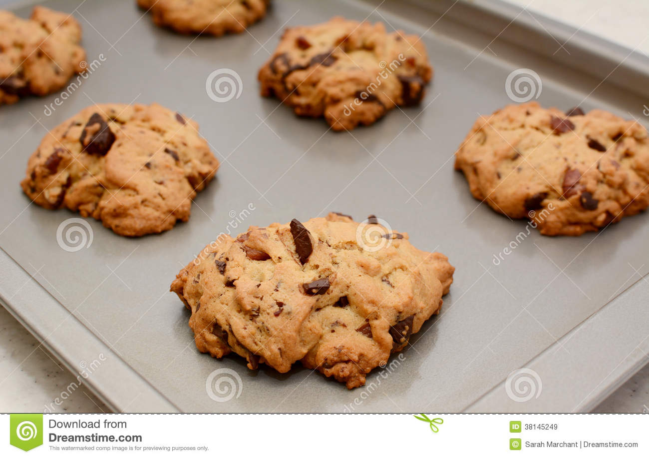 Freshly Baked Chocolate Chunk And Pecan Nut Cookies Royalty Free Stock