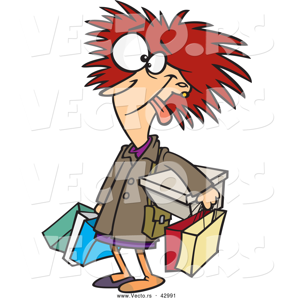 Larger Preview  Vector Of A Frazzled Cartoon Shopper Woman Carrying
