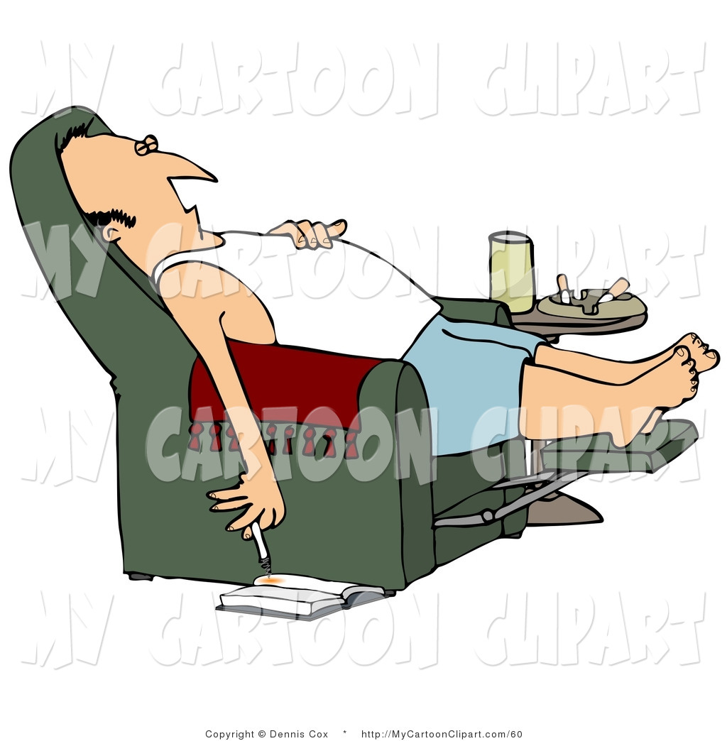Lazy Caucasian Man In A Tank Top And Boxers Reclined In A Green Lazy