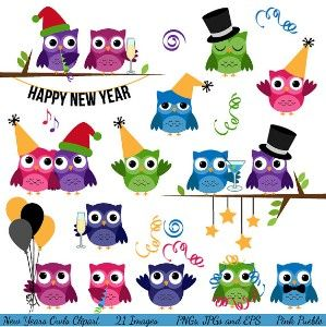 New Year S Eve Party Clip Art   Owls     Whooo Loves You    Pinterest
