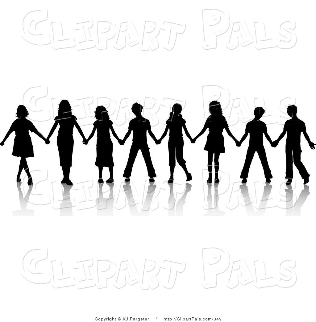 Pal Clipart Of A Group Of Black Silhouetted Boys And Girls Standing In