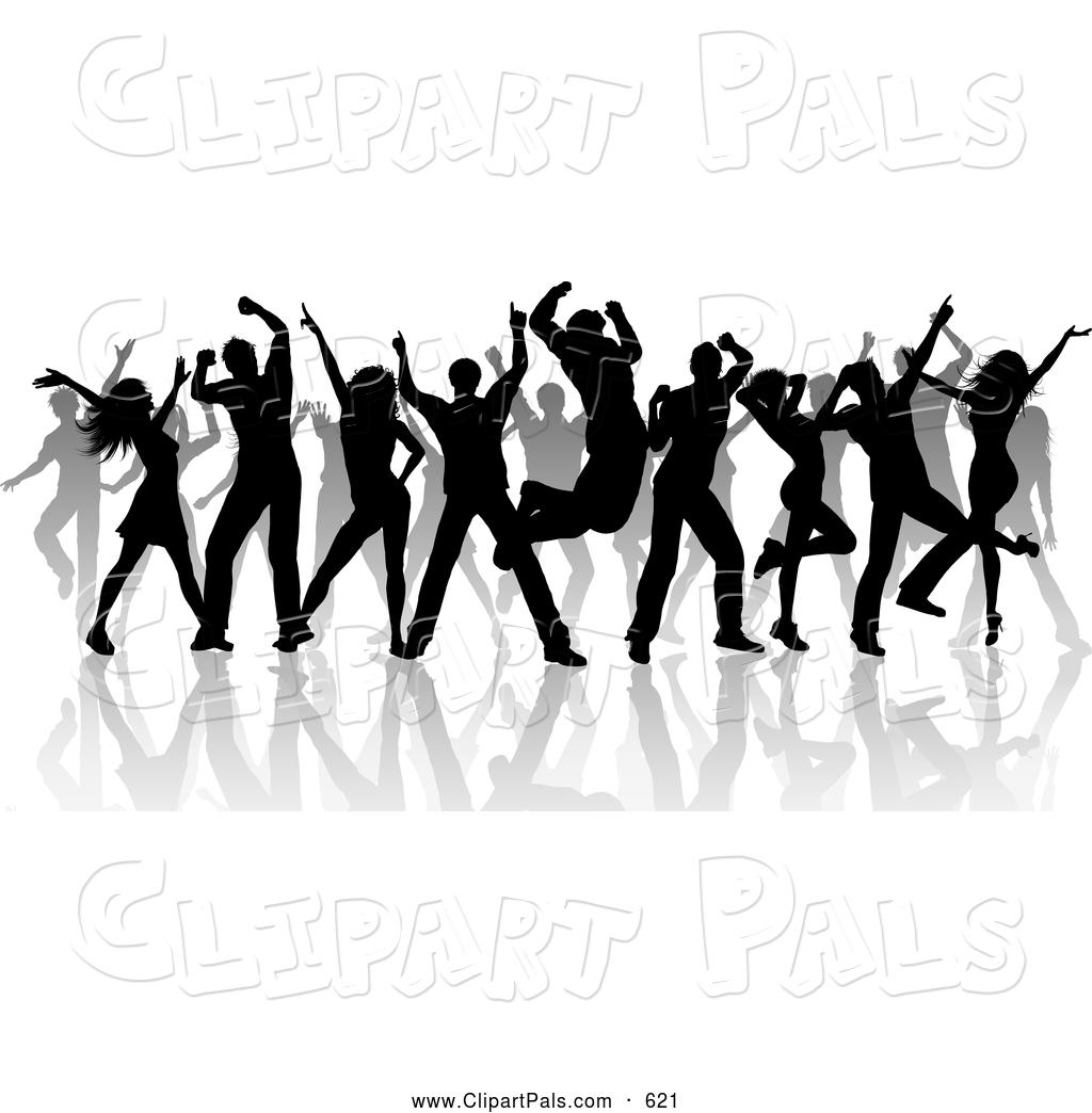 Pal Clipart Of A Partying Group Of Silhouetted Dancers And Reflections