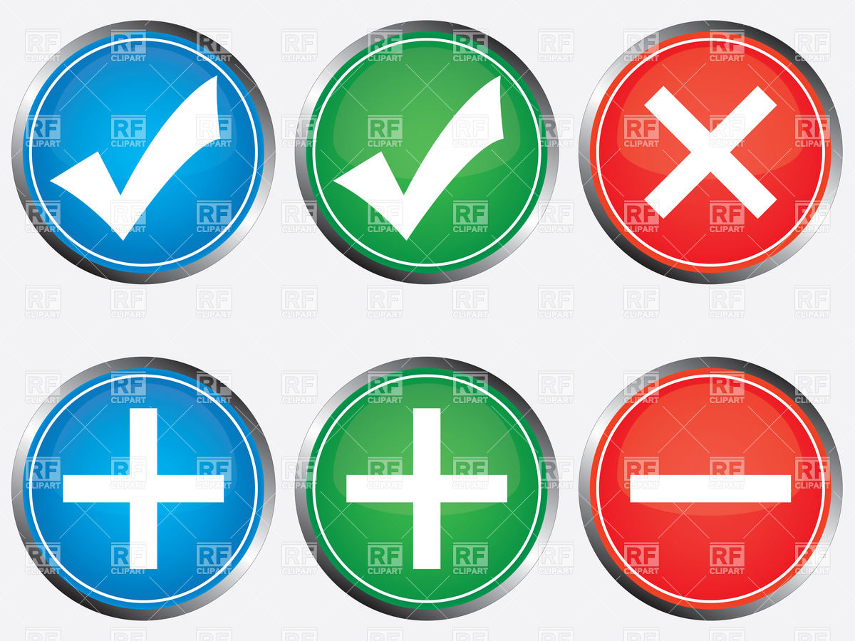 Positive And Negative Buttons With Tick Cross Plus And Minus 34774