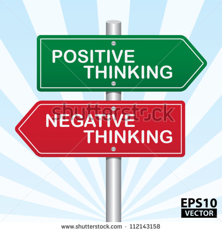 Two Way Street Sign With Positive Thinking And Negative Thinking
