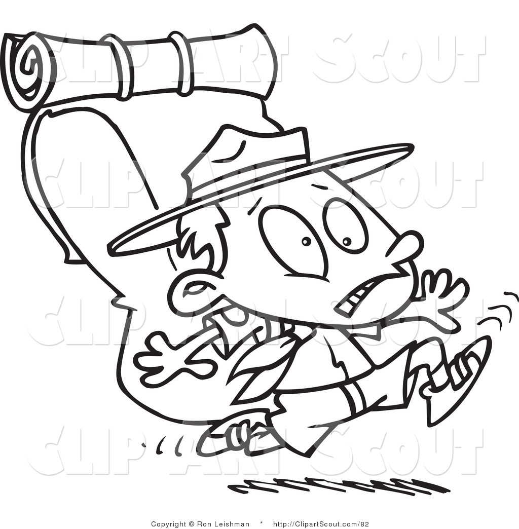 Cartoon Black And White Outline Design Coloring Page Of A Boy Scout
