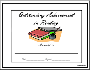 Certificate  Outstanding Achievement Award   Reading   Preview 1