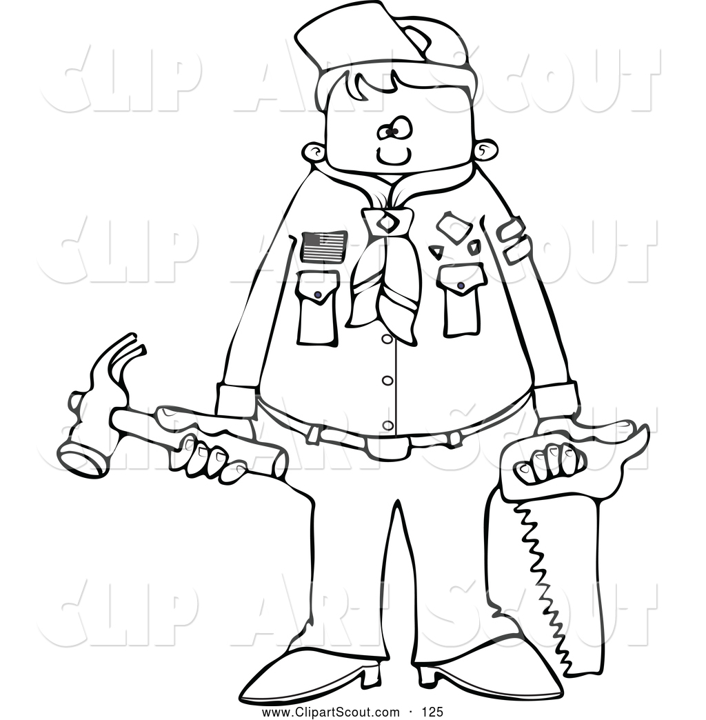Clipart Of A Black And White Scout Boy Holding Tools By Djart    125