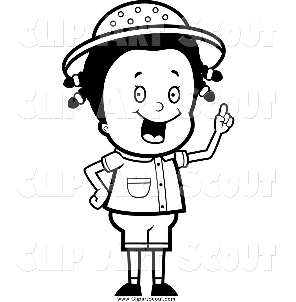 Clipart Of A Black And White Smart Cub Scout Boy In The Woods By Cory
