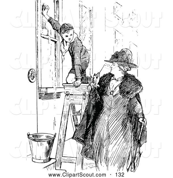 Clipart Of A Black And White Woman Looking At A Boy Scout Washing