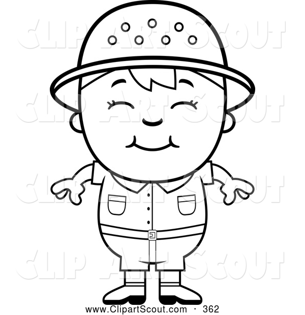 Clipart Of A Cute Black And White Happy Safari Boy By Cory Thoman