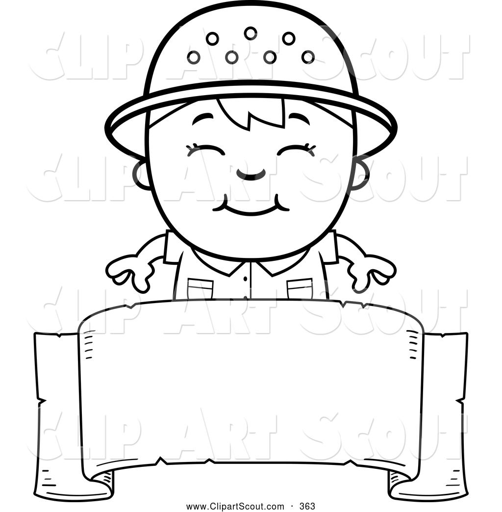 Clipart Of A Cute Black And White Happy Safari Boy Over A Blank Banner