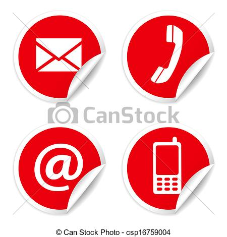 Clipart Of Contact Us Icons On Red Stickers   Web And Internet Contact