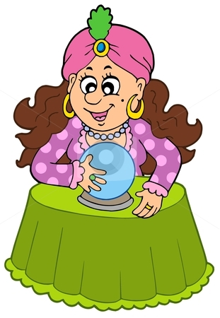 Fortune Teller With Crystal Ball Stock Vector Clipart Fortune Teller