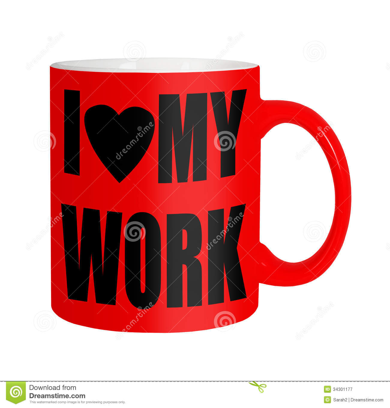 Happy Workersemployees Staff   Red Mug Isolated Over White Royalty