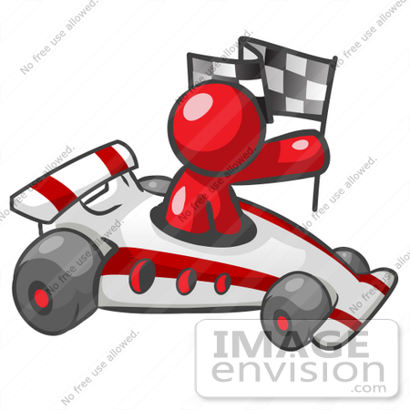 On Clip Art Graphic Of A Red Guy Character Driving A Race Car By Yjusj Clipart on Nascar Trophy Clipart