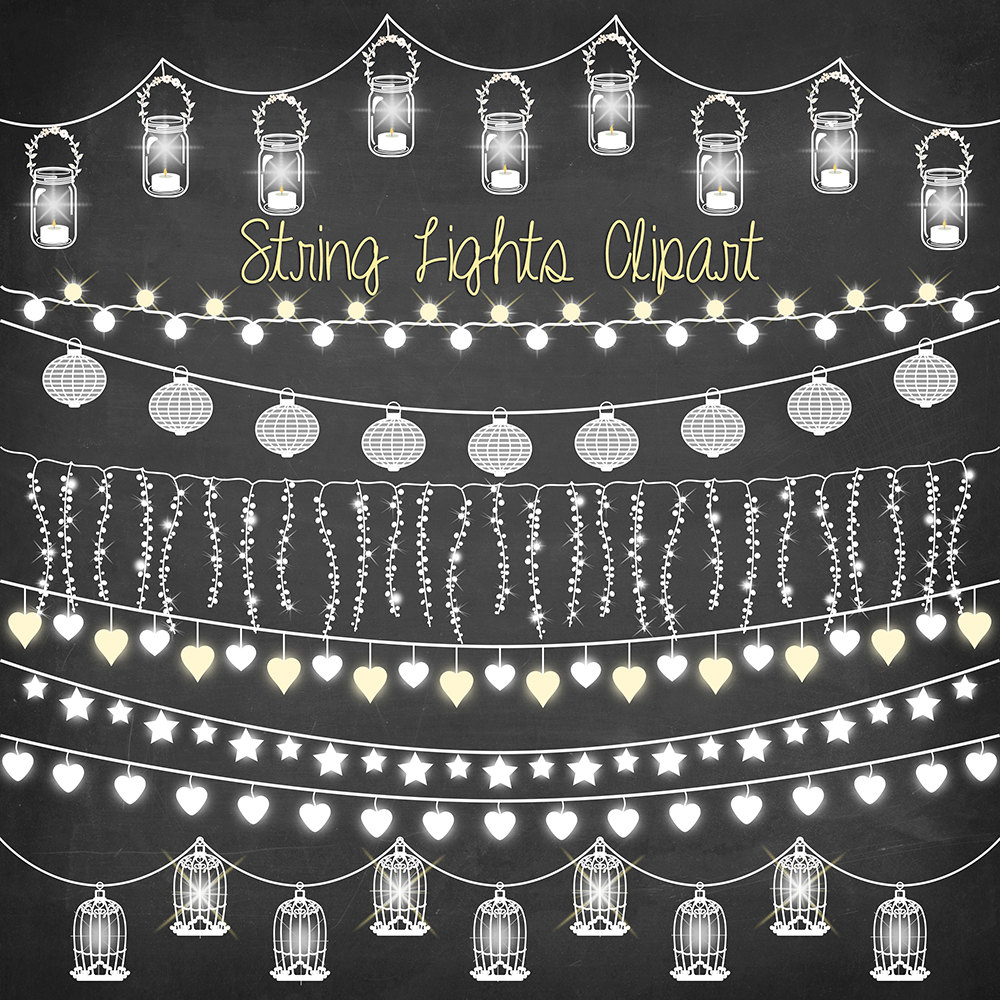 Wedding String Lights Clip Art