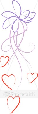 Stylized Purple Line Art Ribbon With Hearts   Valentines Day Clipart