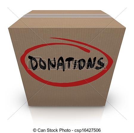 The Word Donations On A Cardboard Box To Illustrate A Food Or Clothing