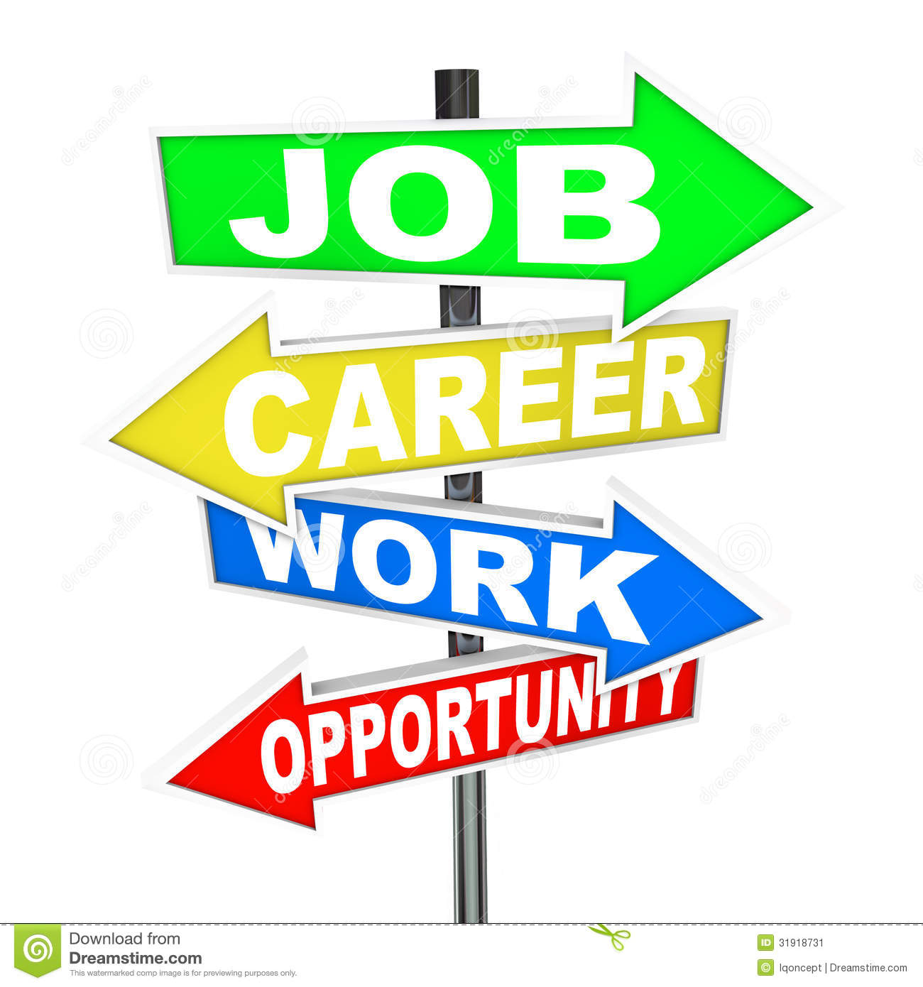 The Words Job Career Work And Opportunity On Colorful Road Signs