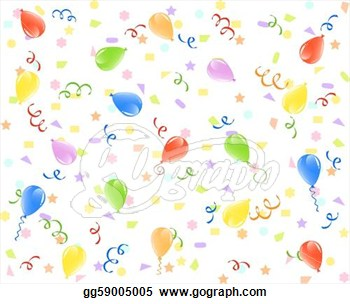 With Balloons Ribbons And Confetti  Clipart Illustration Gg59005005
