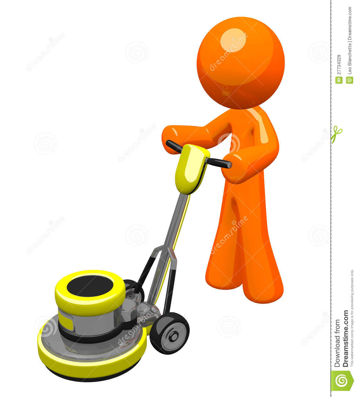 3d Orange Man With Floor Buffer Royalty Free Stock Images   Image
