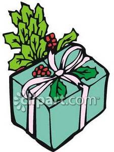 Christmas Present With Boughs Of Holly   Royalty Free Clipart Picture