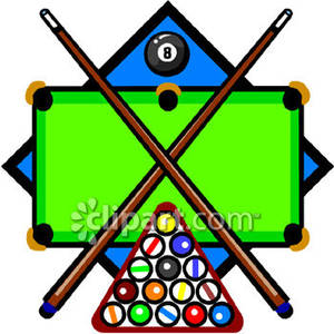 Cue Clipart Sticks Racked Pool Balls And An Eight Ball On The Clipart
