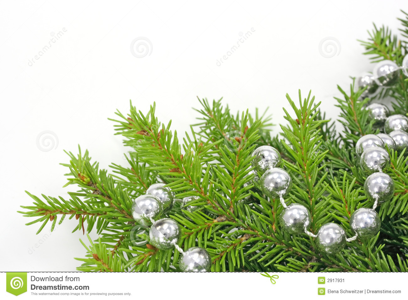 Decorated Christmas Tree Bough Stock Image   Image  2917931