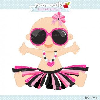 Diva Glam Baby Cute Baby In Pink Tutu   Sunglasses Glamour Baby
